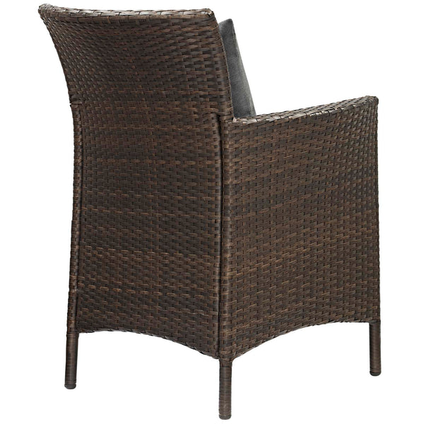 Conduit Outdoor Patio Wicker Rattan Dining Armchair Set of 4 - Brown Charcoal