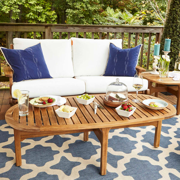 Saratoga Outdoor Patio Premium Grade A Teak Wood Oval Coffee Table - Natural