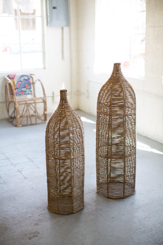 Set of Two Large Seagrass and Iron Bottles