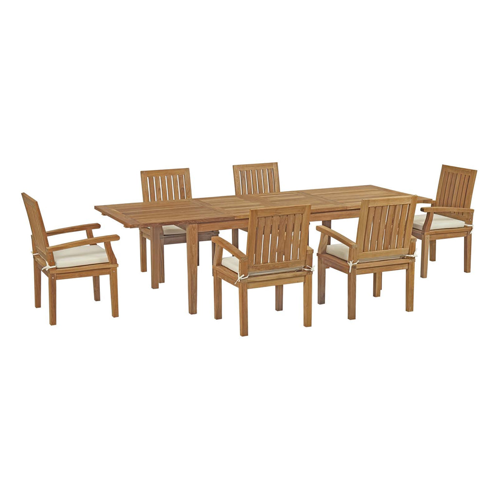 Marina 7 Piece Outdoor Patio Teak Outdoor Dining Set - Natural White
