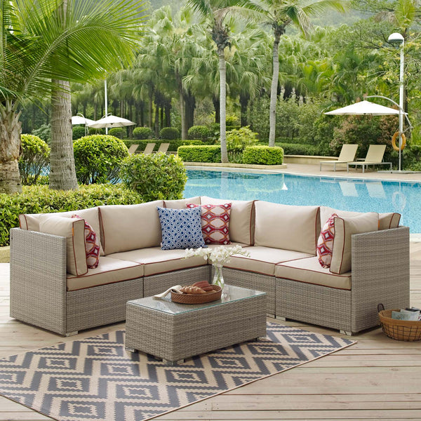 Repose 6 Piece Outdoor Patio Sectional Set - Light Gray Beige