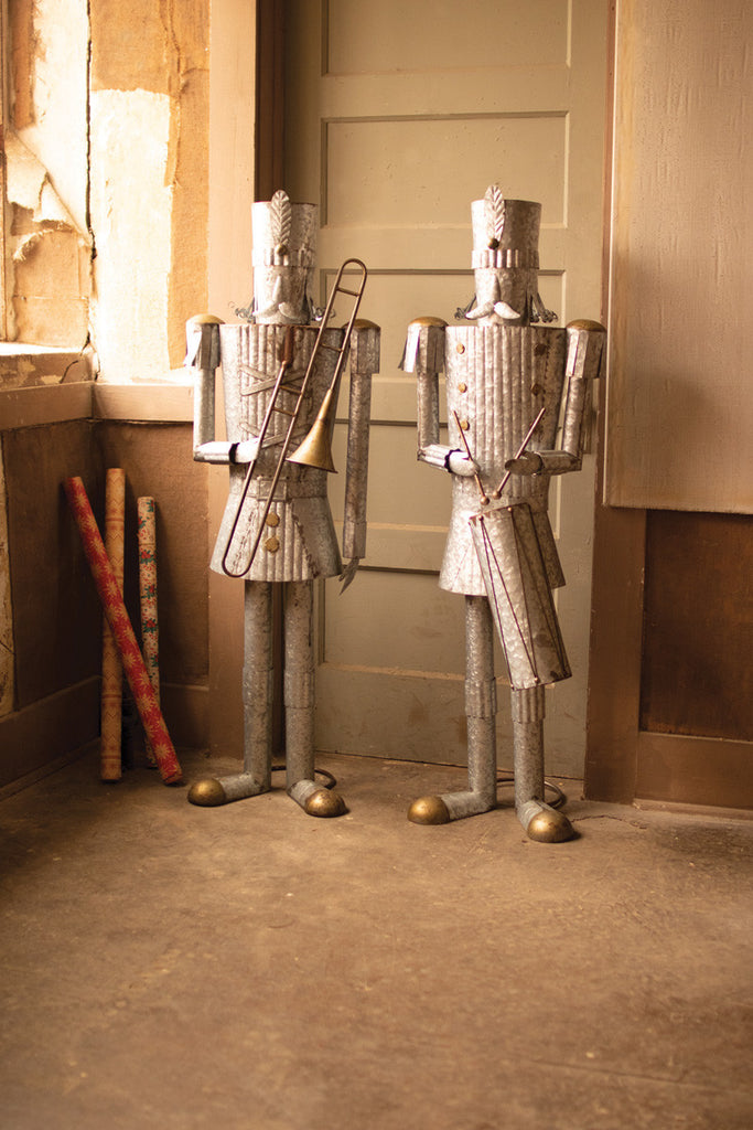 Set of Two Life Size Tin Christmas Soldiers