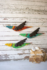 Set of 3 Painited Wooden Birds Wall Hangings with Metal Wings