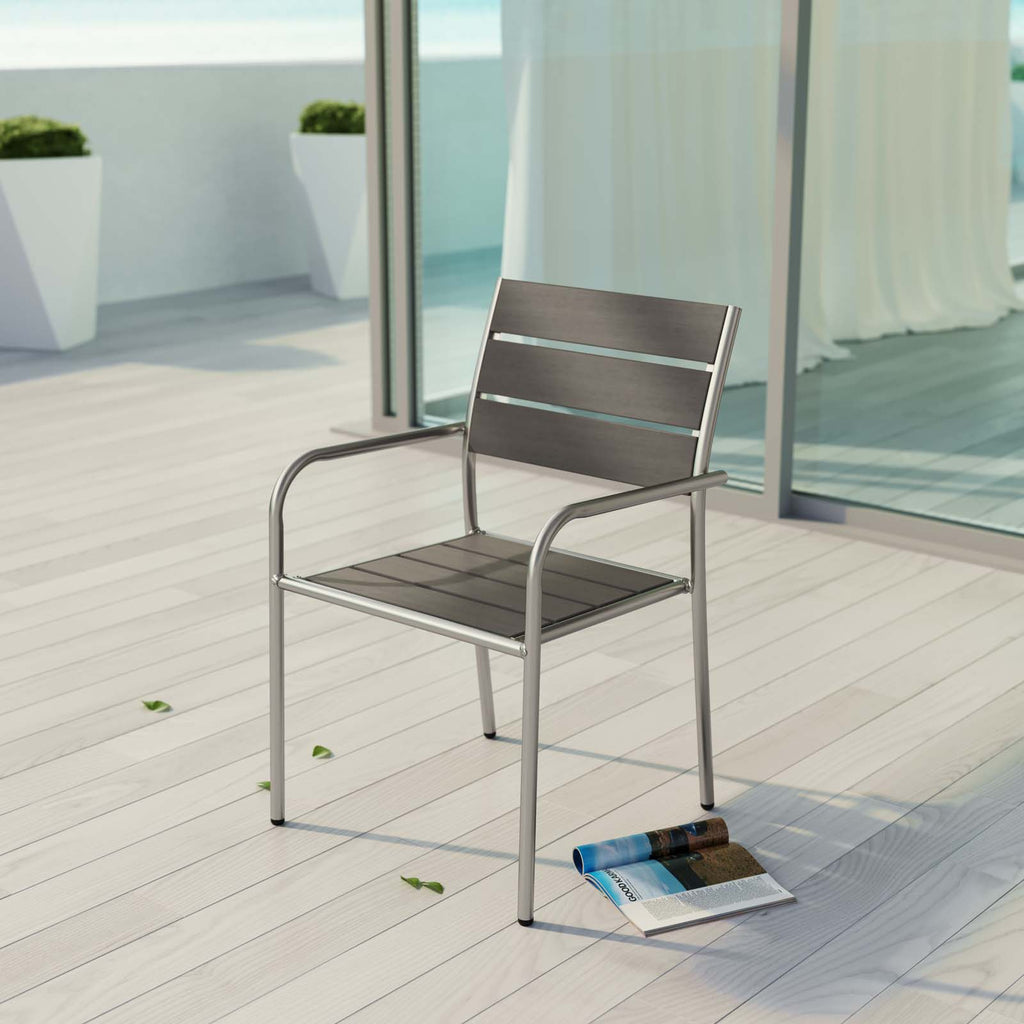 Shore Outdoor Patio Aluminum Dining Chair in Silver Gray