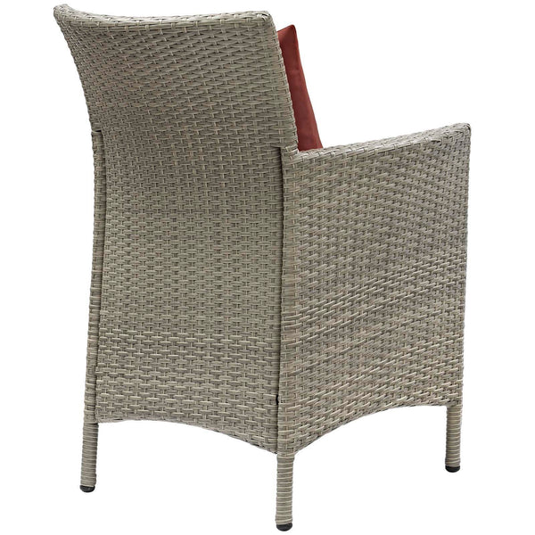 Conduit Outdoor Patio Wicker Rattan Dining Armchair Set of 2 - Light Gray Currant