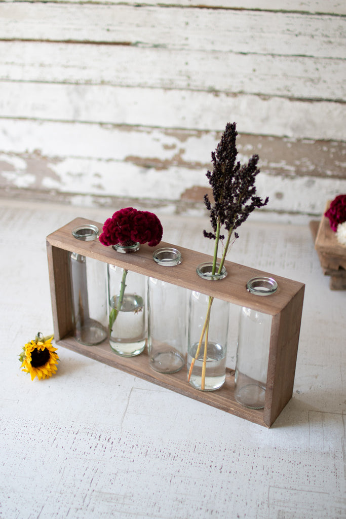 Five Bud Vases with Wooden Stand
