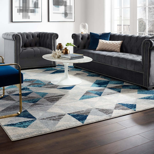 Entourage Elettra Distressed Geometric Triangle Mosaic 8x10 Area Rug - Gray and Blue