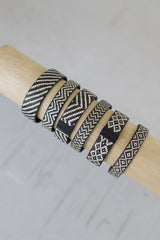 Set 6 Braided Black and White Cana Flecha Wrap Around Cuffs