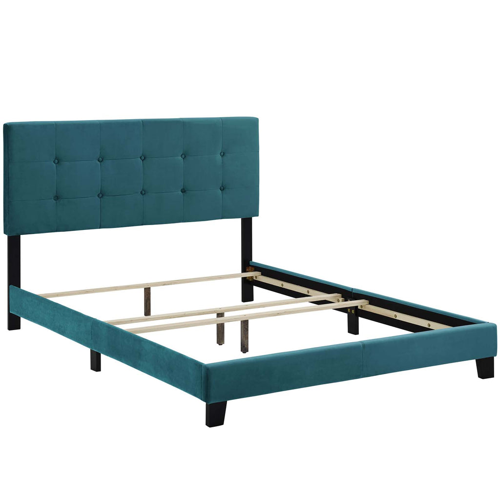 Amira Full Performance Velvet Bed - Sea Blue