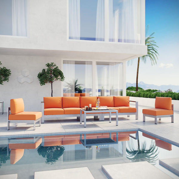Shore 6 Piece Outdoor Patio Aluminum Sectional Sofa Set - Silver Orange