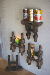 Repurposed Charkha Wood Shelf