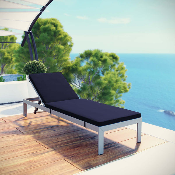 Shore Outdoor Patio Aluminum Chaise with Cushions - Silver Navy