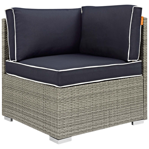 Repose 7 Piece Outdoor Patio Sectional Set - Light Gray Navy