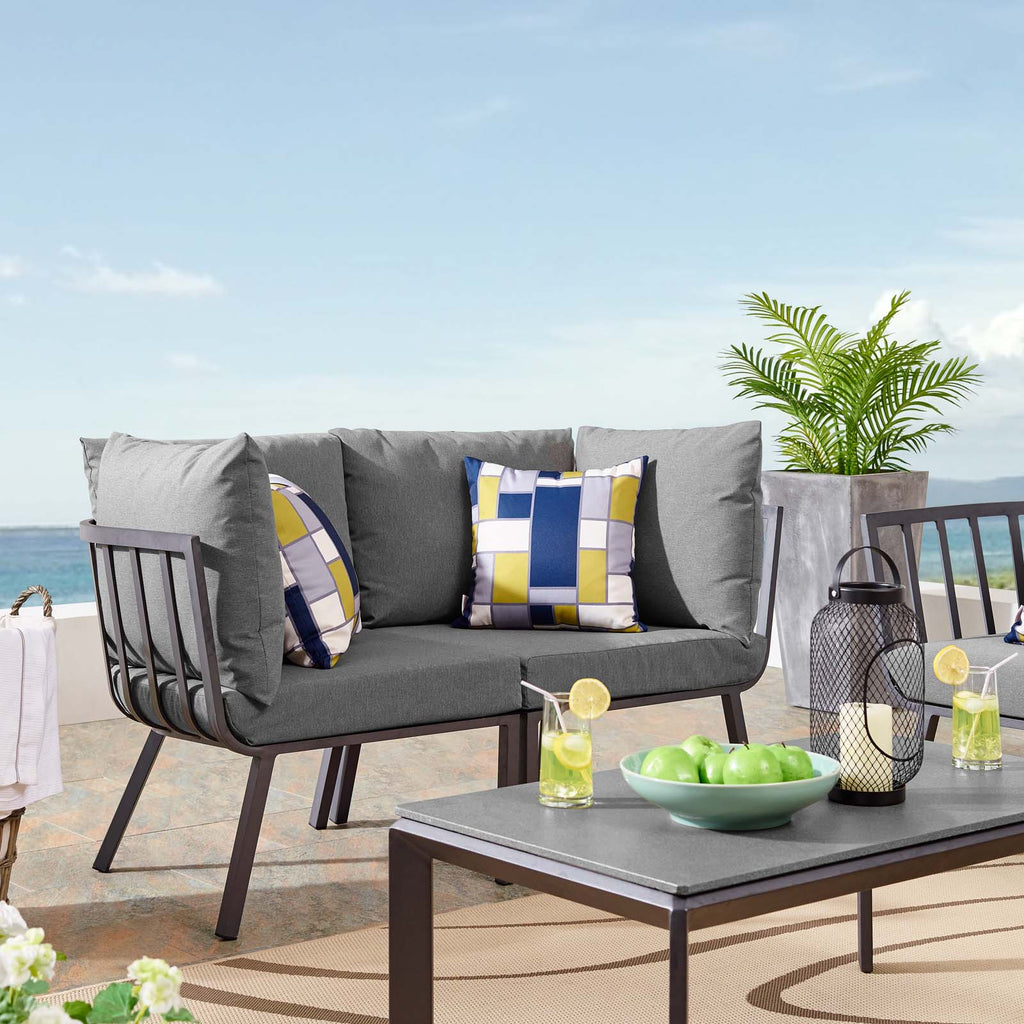 Riverside 2 Piece Outdoor Patio Aluminum Sectional Sofa Set - Gray Charcoal