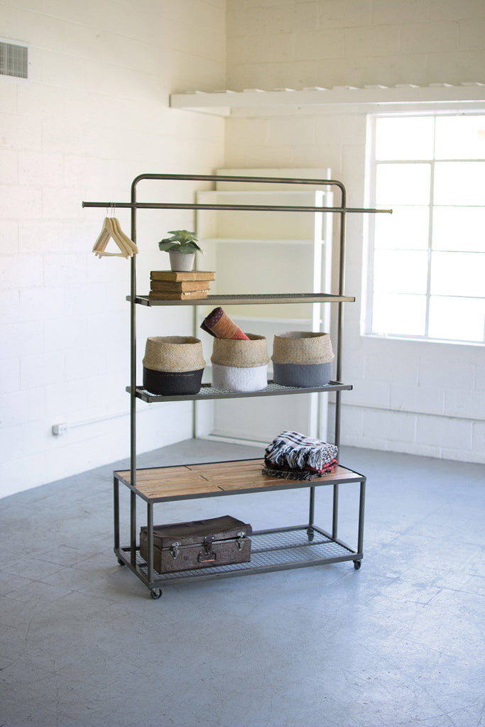 Display Unit with Wire Mesh and Wood Shelves