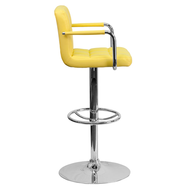 Yellow Quilted Vinyl Barstool