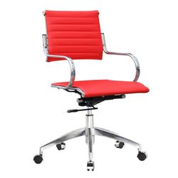 Fine Mod Imports Flees Mid Back Office Chair, Red