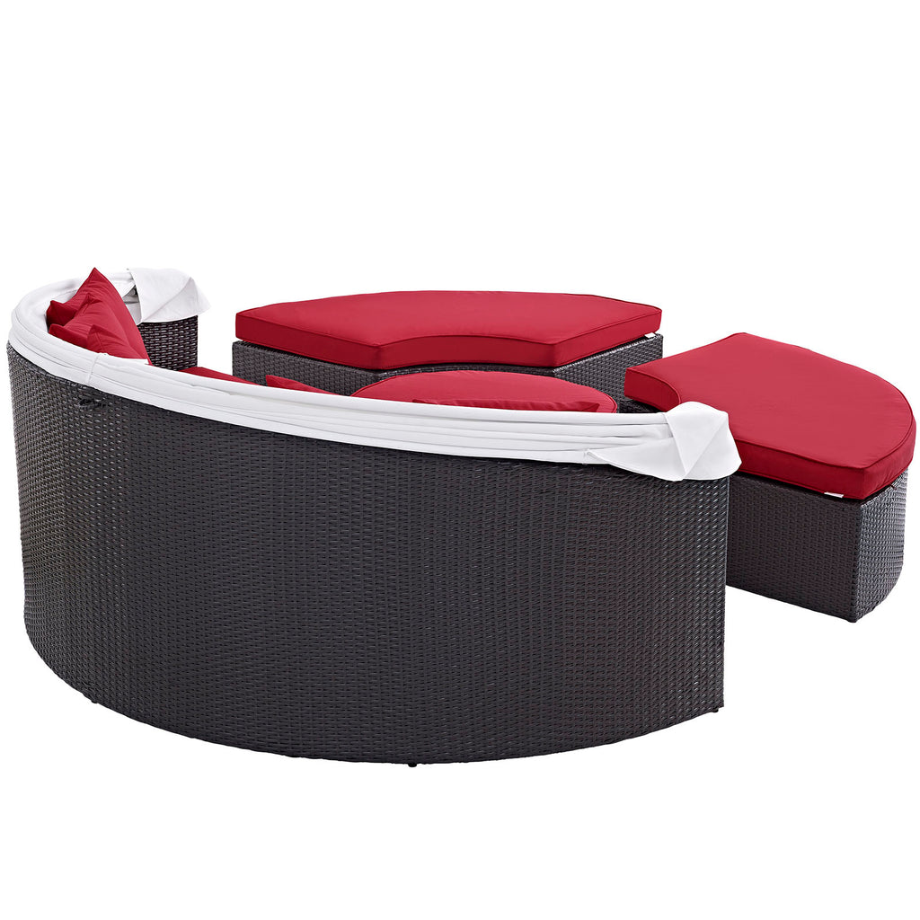 Convene Canopy Outdoor Patio Daybed - Espresso Red