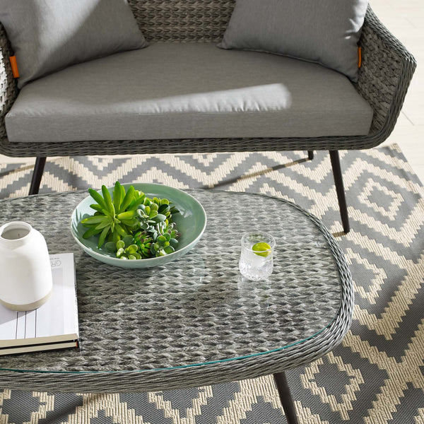 Endeavor Outdoor Patio Wicker Rattan Coffee Table - Gray