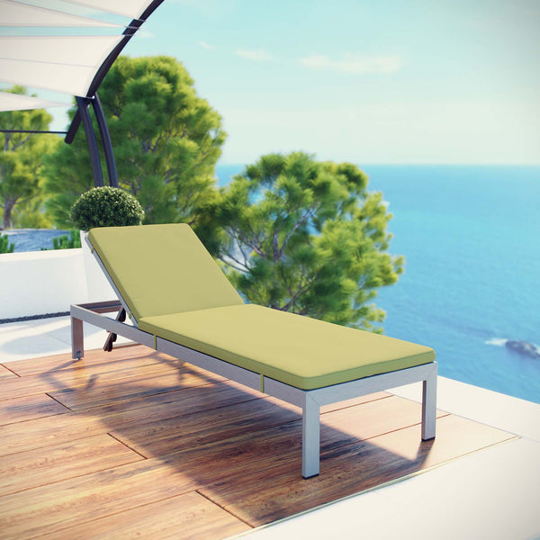 Shore Outdoor Patio Aluminum Chaise with Cushions - Silver Peridot