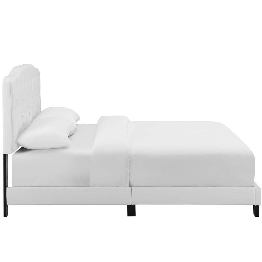 Amelia King Faux Leather Bed - White