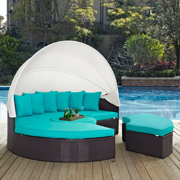 Quest Canopy Outdoor Patio Daybed - Espresso Turquoise