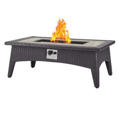 Convene 4 Piece Set Outdoor Patio with Fire Pit - Espresso Red