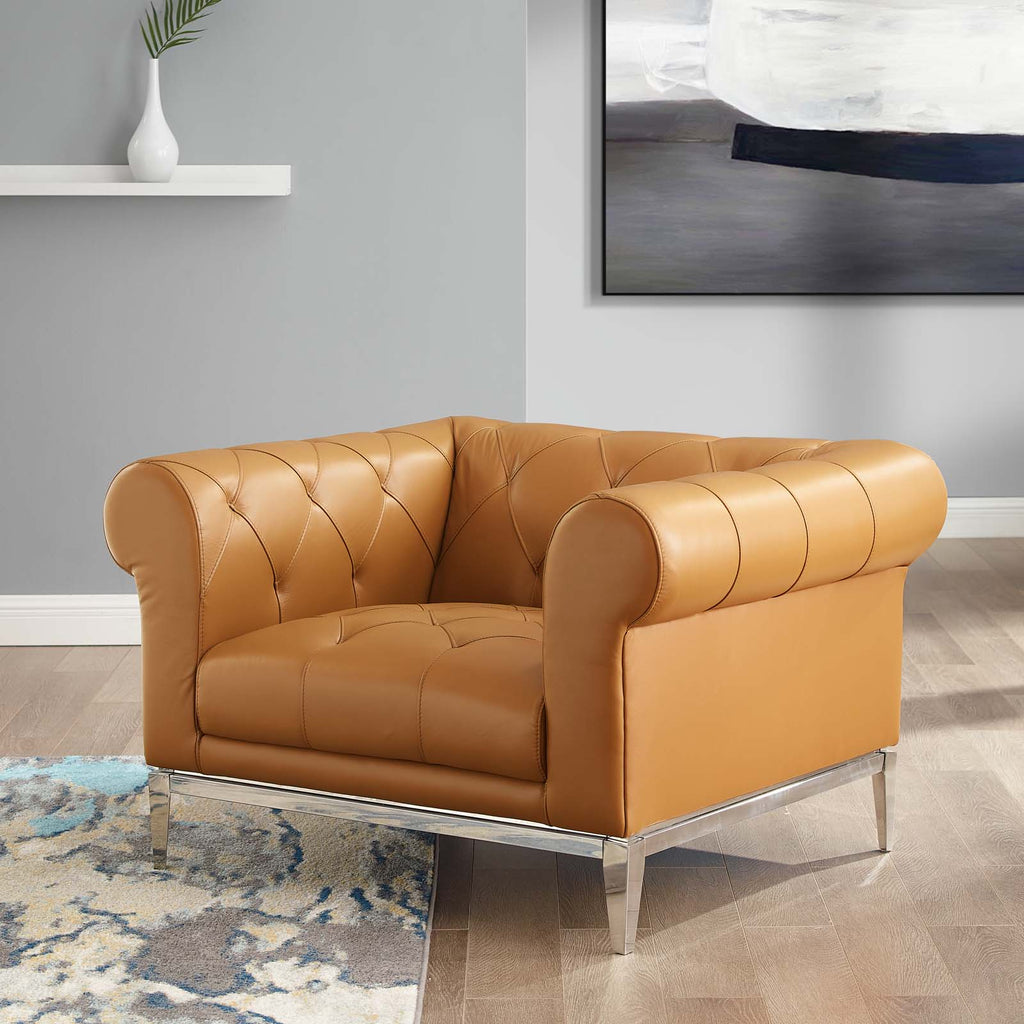 Idyll Tufted Button Upholstered Leather Chesterfield Armchair - Tan