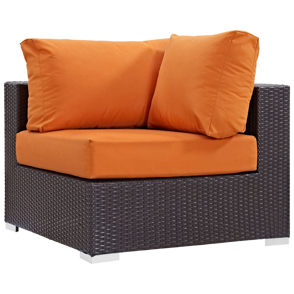 Convene 7 Piece Outdoor Patio Sectional Set - Expresso Orange