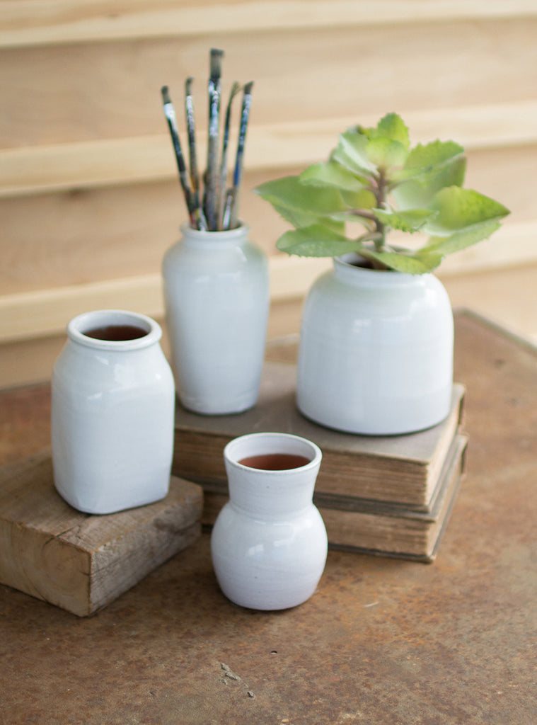 Set of Four Matte White Ceramic Vases