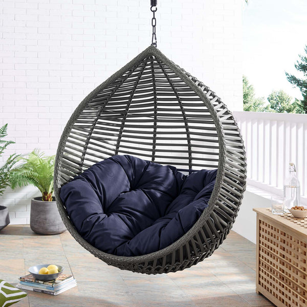 Garner Teardrop Outdoor Patio Swing Chair Without Stand - Gray Navy