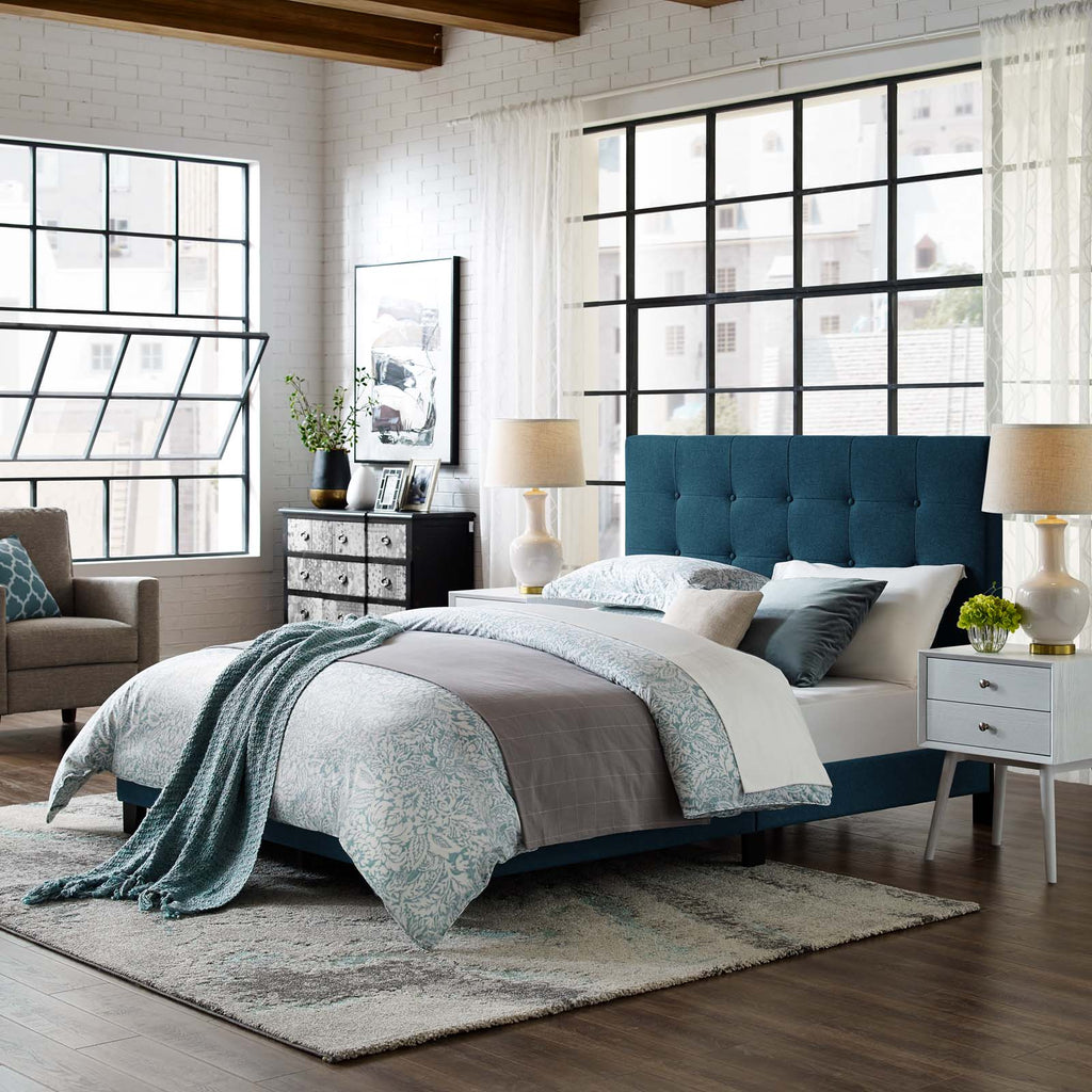 Melanie Full Tufted Button Upholstered Fabric Platform Bed - Azure