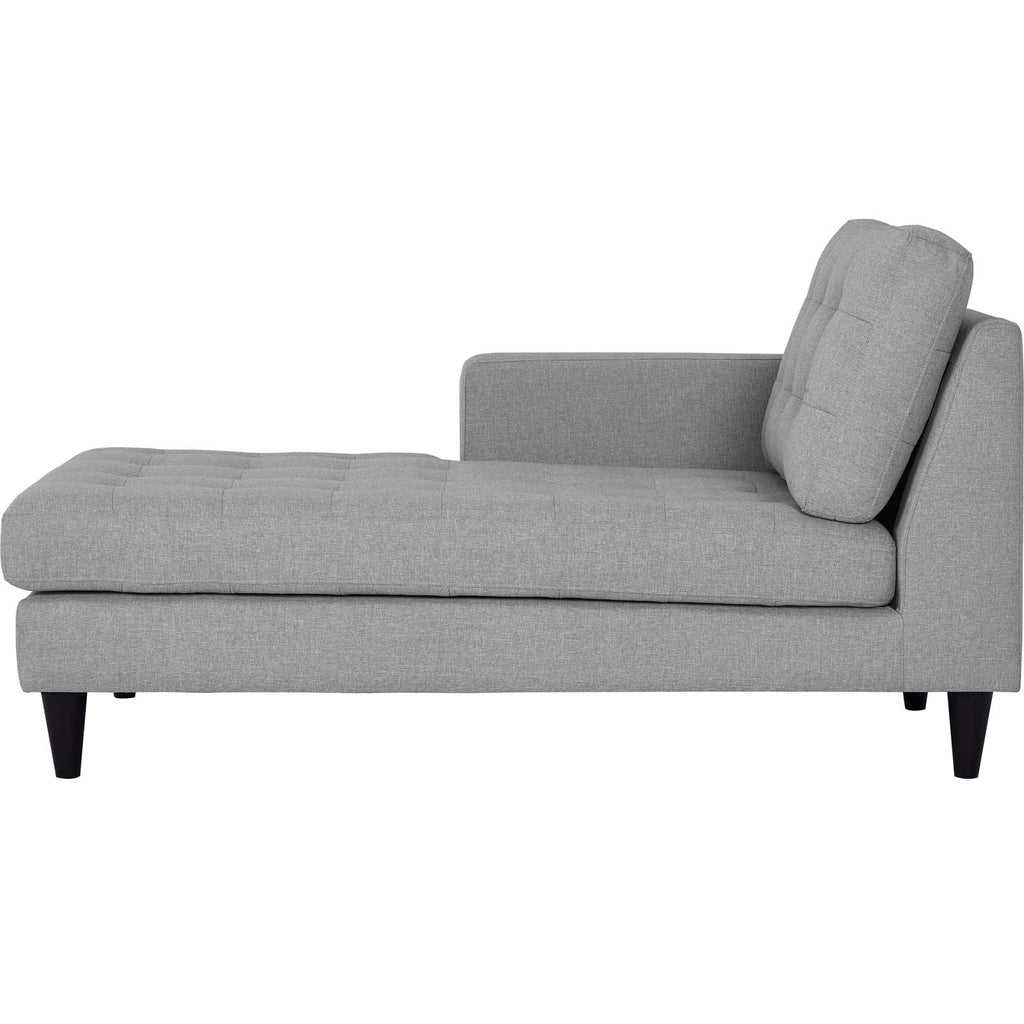 Empress Left-Arm Upholstered Fabric Chaise - Light Gray