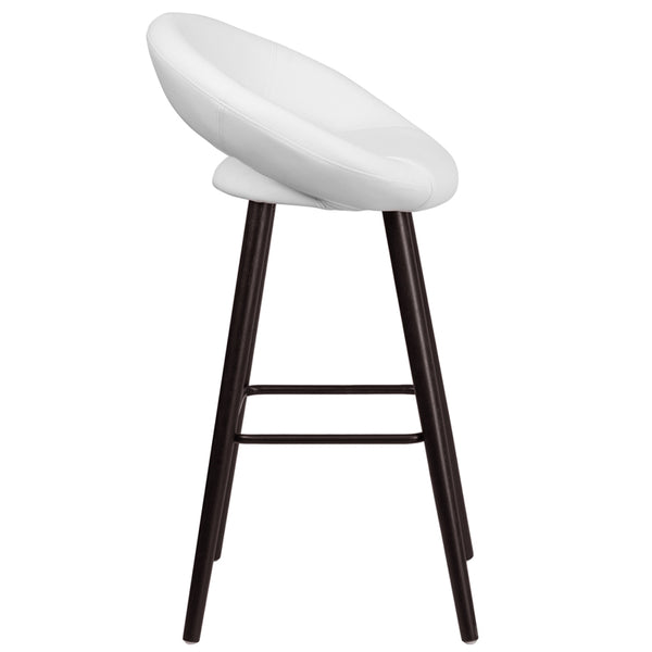 Kelsey Series 29'' High Contemporary Cappuccino Wood Barstool in White Vinyl