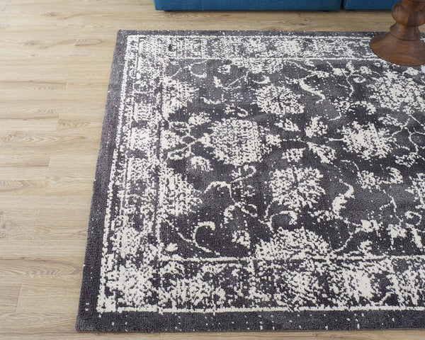 Kazia Distressed Floral Lattice 5x8 Area Rug - Dark Gray and Ivory