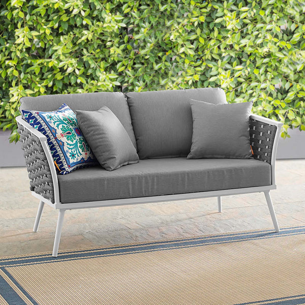 Stance Outdoor Patio Aluminum Loveseat - White Gray