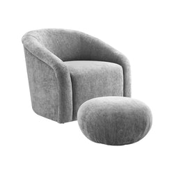 Boboli Grey Chenille Accent Chair + Ottoman Set
