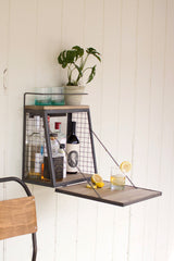WALL BAR WITH FOLD DOWN SHELF