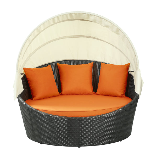 Siesta Canopy Outdoor Patio Daybed - Espresso Orange