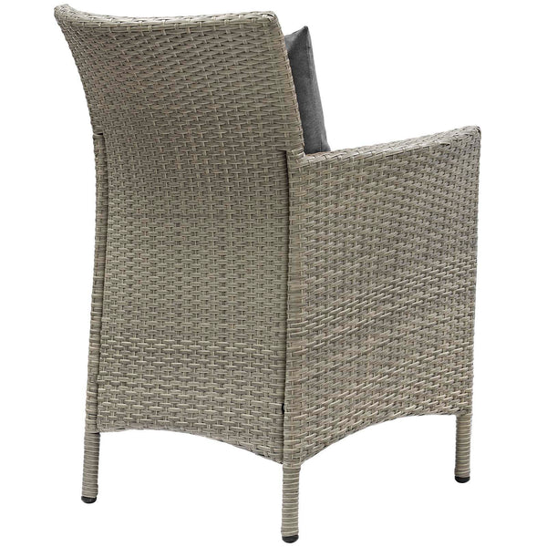 Conduit Outdoor Patio Wicker Rattan Dining Armchair Set of 4 - Light Gray Charcoal