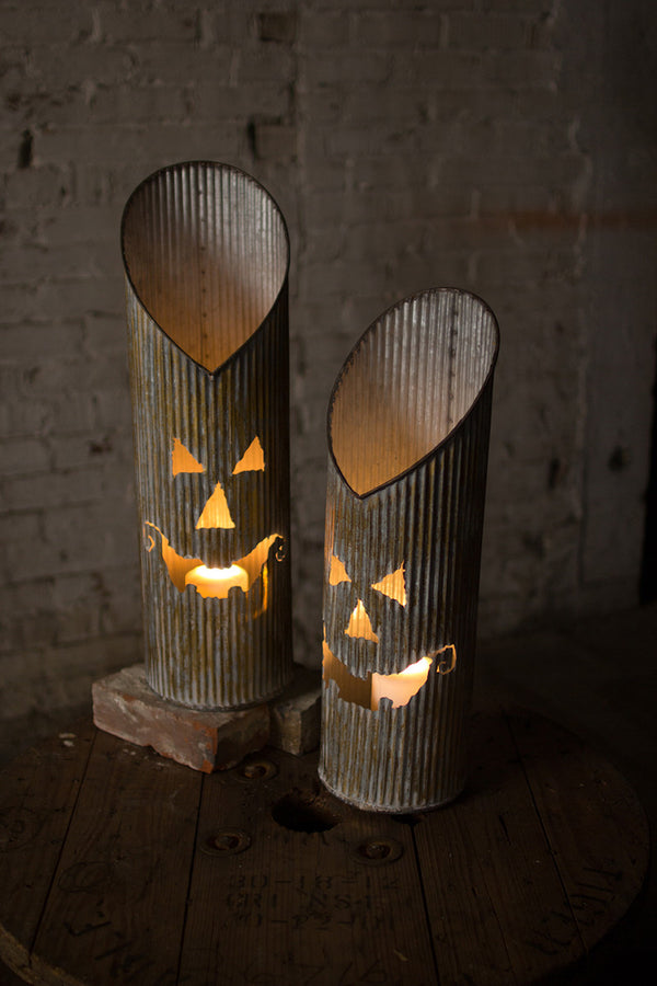 Set of Two Corrugated Metal Jack-o-lanterns
