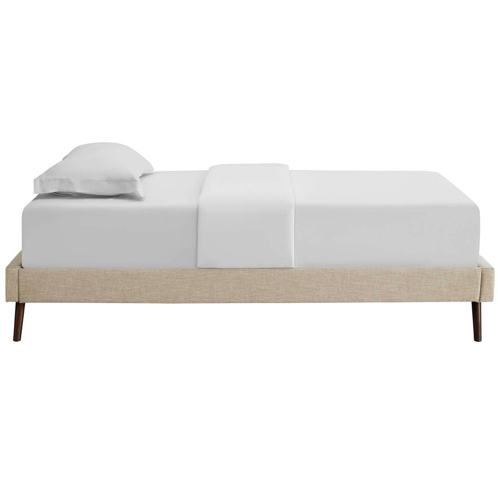 Loryn Twin Fabric Bed Frame with Round Splayed Legs - Beige