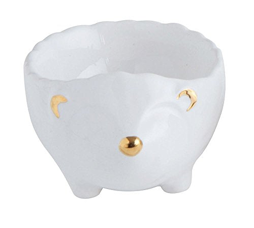 Hedgehog Pinch Pot White & Gold Electroplating 2.25 x 3 Ceramic Decorative Dish