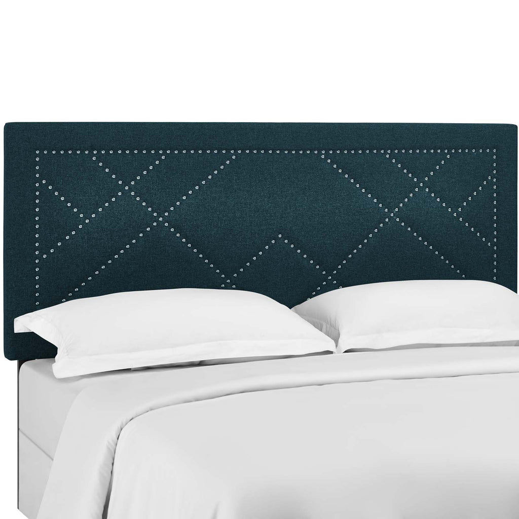 Reese Nailhead King and California King Upholstered Linen Fabric Headboard - Azure