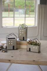 Set of Three Ceramic House Planters with Wire Frames