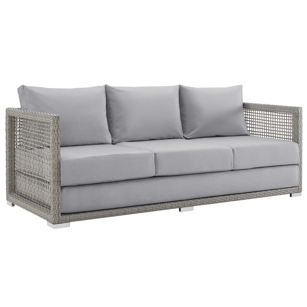 Aura 4 Piece Outdoor Patio Wicker Rattan Set - Gray Gray