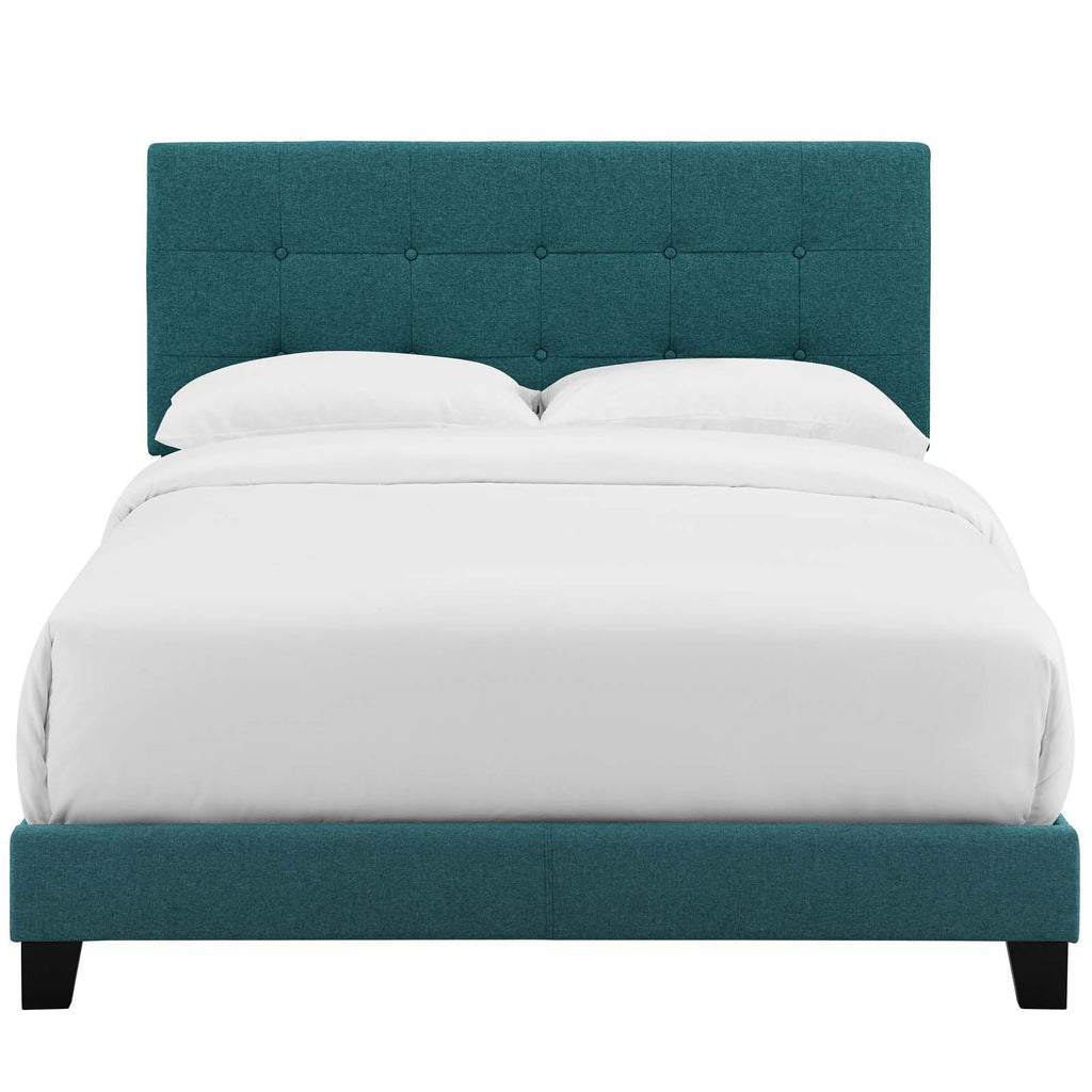 Amira King Upholstered Fabric Bed - Teal