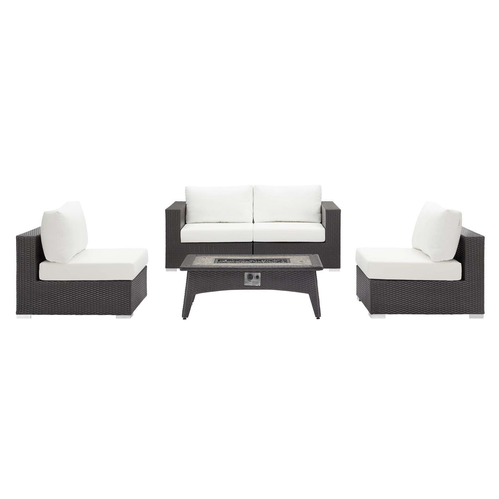 Convene 5 Piece Set Outdoor Patio with Fire Pit - Espresso White