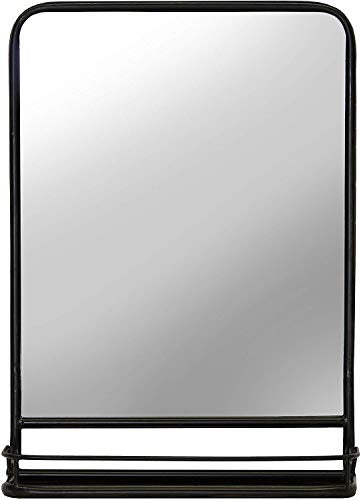 Rectangular Metal Wall Mirror with Shelf - Singular Vanity Bathroom Mirror