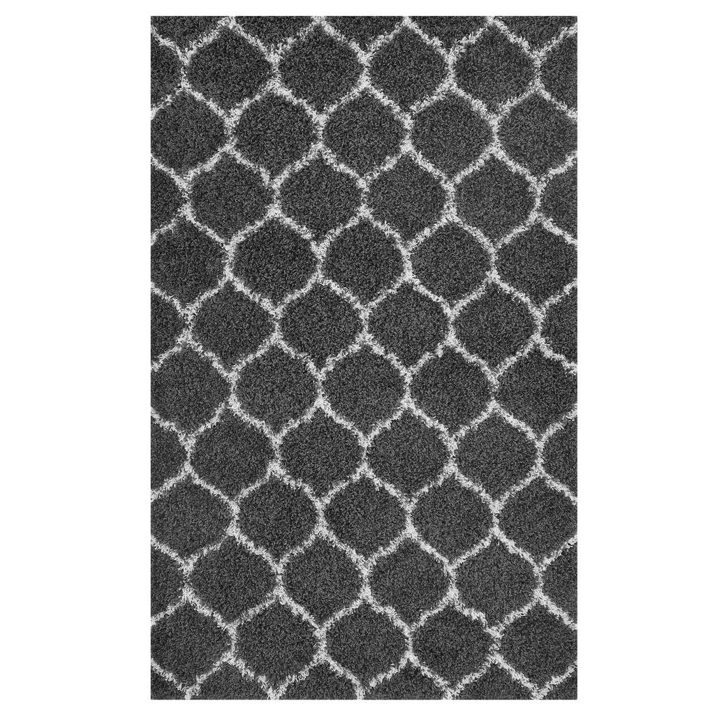 Solvea Moroccan Trellis 8x10 Shag Area Rug - Dark Gray and Ivory